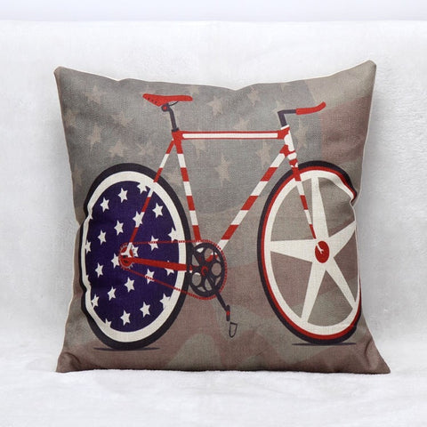 USA Vintage Style Cycling Cotton Linen Square Cushion Cover 45x45cm-Loluxe