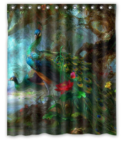 Vibrant Colorful Peacock Waterproof Fabric 60 x 72 Shower Curtain 5 Designs-Loluxe
