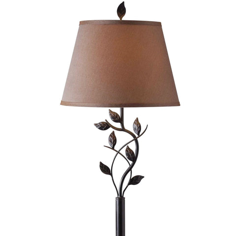 Vine Leaves Rubbed Bronze Finish Floor Lamp with 15-inch Gold Tapered Shade-Lighting > Floor Lamps-Loluxe