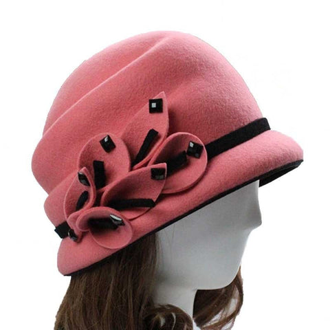 Vintage 100% Wool Felt Floral Applique/Bead Accent Hat 3 Colors-Loluxe