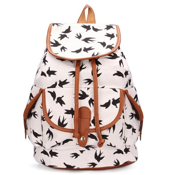 Vintage Casual Drawstring Backpacks Canvas Travel Backpack School Bag Rucksack-backpack bookbag-Loluxe