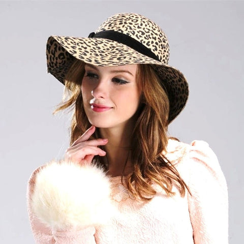 Vintage Fashion Leopard-Print Wide-Brim Wool Floppy Hat 5 Colors-Loluxe