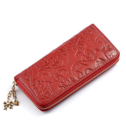 Vintage Flower Women Purse Medium-Long PU leather Zipper Wallet-coin purse wallet clutch-Loluxe