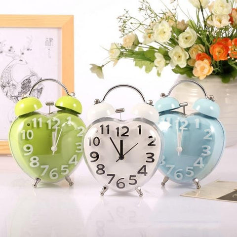 Vintage Heart-Shaped Fashion Bell Alarm Clock 3 Colors-Loluxe