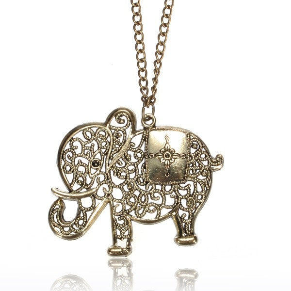 Vintage Hollow Out Elephant Pendant Sweater Necklace Long Chain-Loluxe