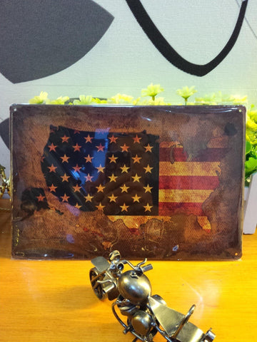 Vintage Metal Retro USA Map American Flag Wall Decor-Loluxe