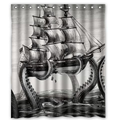 "Vintage Octopus Ship Waterproof 66 x 72"" Shower Curtain-Loluxe"