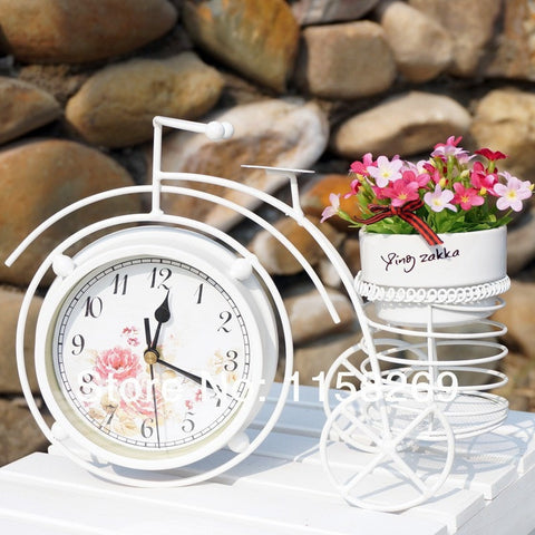 Vintage Rural-Style Metal Decorative Bicycle Vase Clock-Loluxe