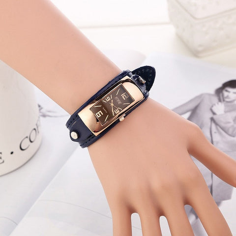 Vintage Simulation Wooden Color Leather Strap Watch-Loluxe