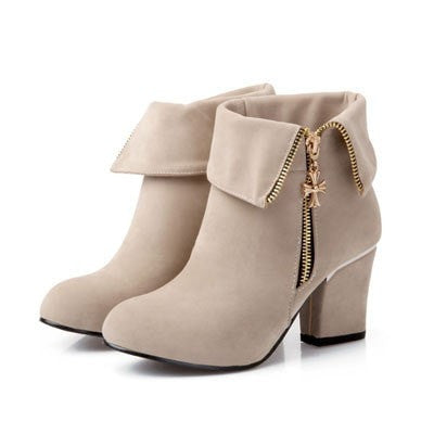 Vintage-Style Ladies Suede Side-Zip Fashion Ankle Boots 4 Colors-Loluxe