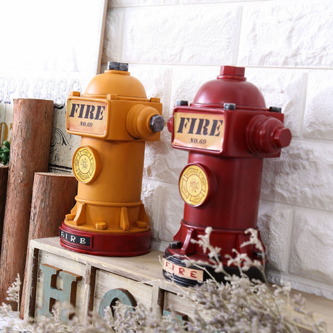 Vintage-Style Resin Fire Hydrant Coin Bank 2 Colors-Loluxe