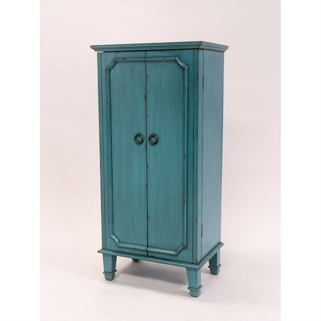 Vintage Turquoise Hand Painted Jewelry Armoire with Antique Drawer