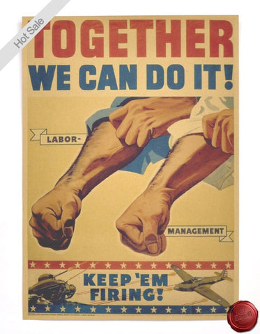 Vintage USA WE CAN DO IT WORLD WAR 2 Old Poster Retro Wall Art Decor 4x30cm-Loluxe