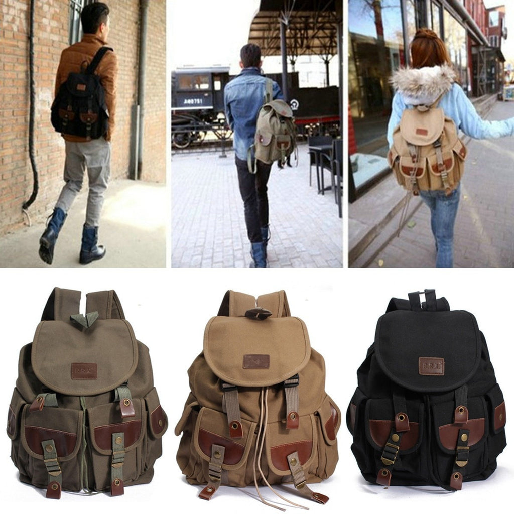 Vintage Women and Men's Backpack Canvas Leather Hiking Travel Military Satchel School Bag-backpack bookbag-Loluxe