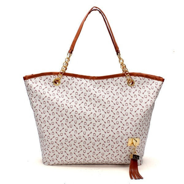 Vintage Women's PU Leather Tote with Arrow Pattern and Tassel Accent-Handbags-Loluxe