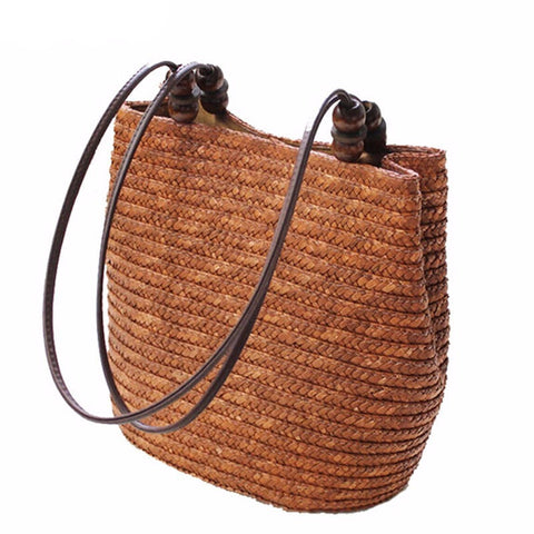 Vintage Women's Summer Straw Bucket Tote Bag 3 Colors-Loluxe