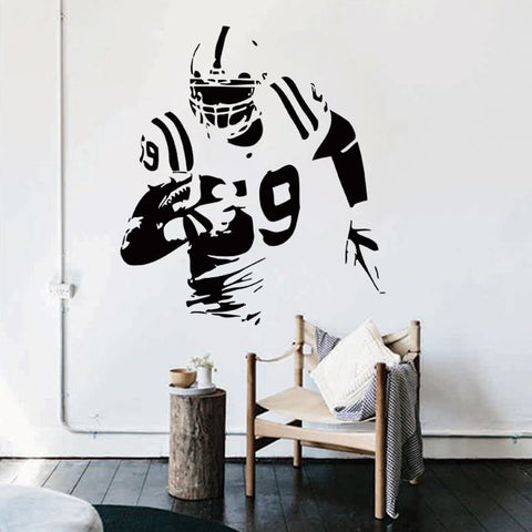 Vinyl Football Player Removable Wall Decal Decor 12 Colors-Loluxe