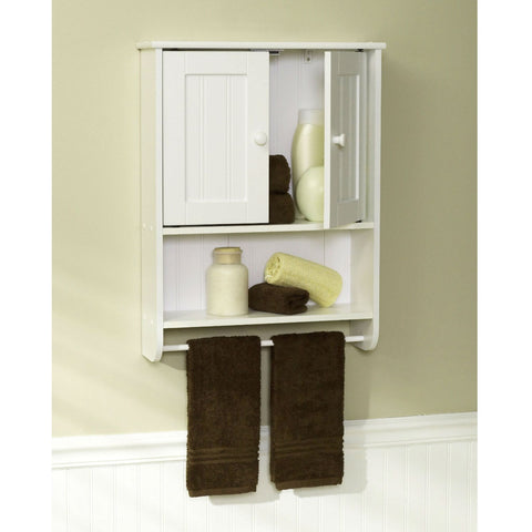 Wall Mount Bathroom Cabinet with Towel Bar in White Finish-Bathroom > Bathroom Cabinets-Loluxe