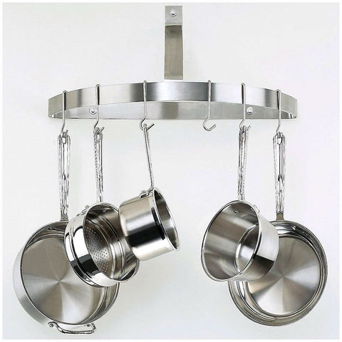 Wall Mount Half Circle Pot Rack in Brushed Stainless Steel-Kitchen > Pot Racks-Loluxe