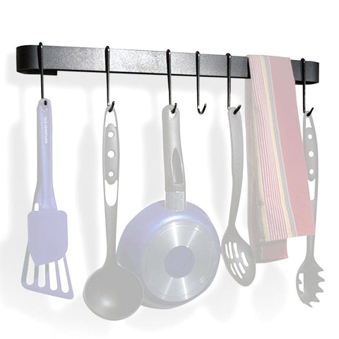 Wall Mounted Kitchen Pot Rack with 8 Hooks and Drywall Anchors-Kitchen > Pot Racks-Loluxe