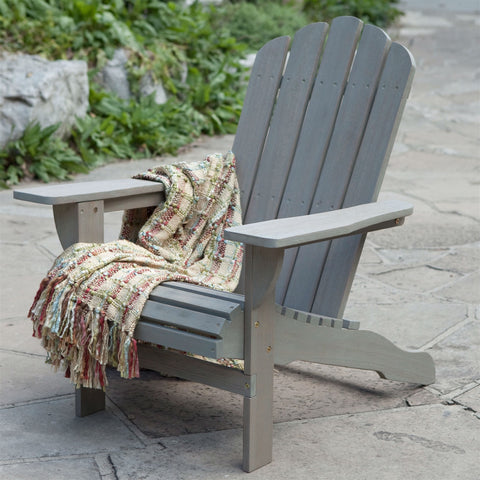 Weather Resistant Eco-Friendly Eucalyptus Wood Adirondack Chair in Driftwood Color-Outdoor > Outdoor Furniture > Adirondack Chairs-Loluxe