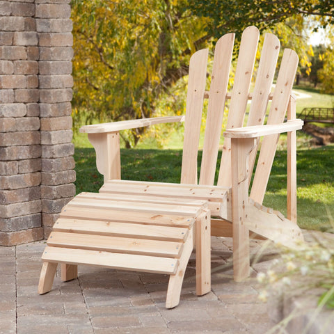 Weather-Resistant Unfinished Fir Wood Adirondack Chair and Ottoman Set-Outdoor > Outdoor Furniture > Adirondack Chairs-Loluxe
