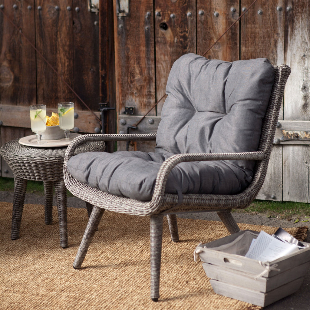 ... Weather Resistant Wicker Resin Patio Furniture Set With 2 Chairs  Cushions And Side Table Outdoor