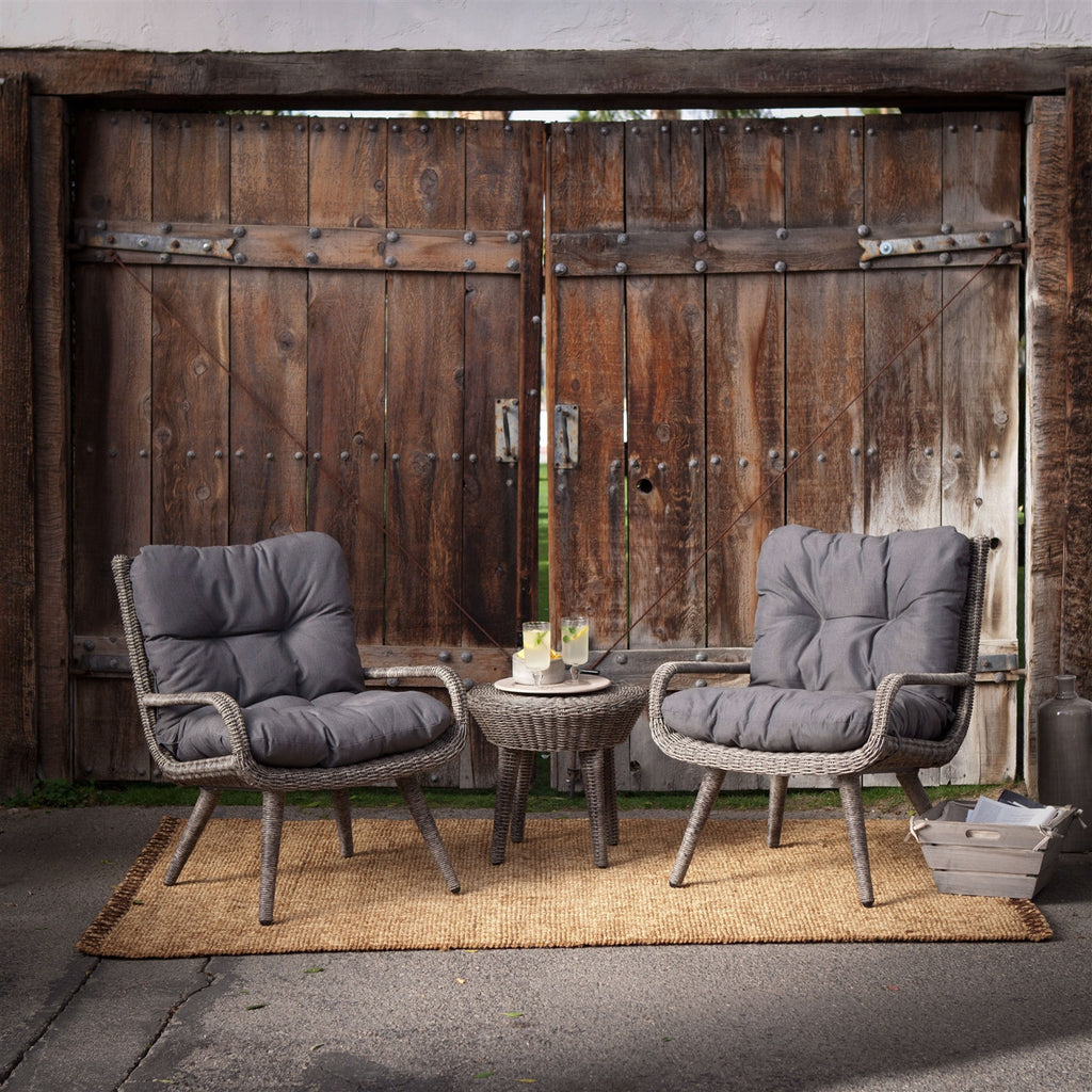Weather Resistant Wicker Resin Patio Furniture Set With 2 Chairs Cushions  And Side Table Outdoor
