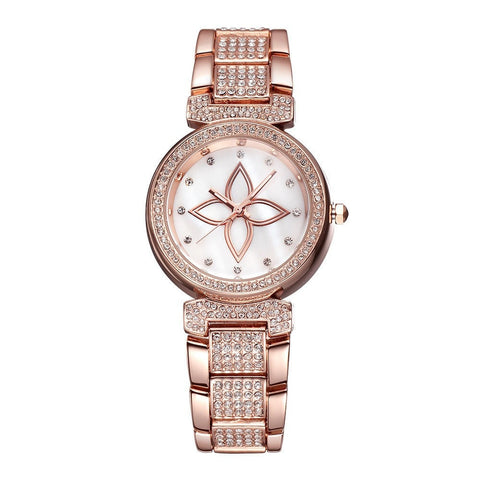 Weiqn Brand Luxury Hardlex Flower Crystal Women's Dress Watches Fashion Rose Gold & Silver Watches-Loluxe