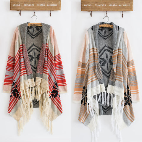 Western Boho Tassel Trim Open-Front Cardigan One Size 3 Colors