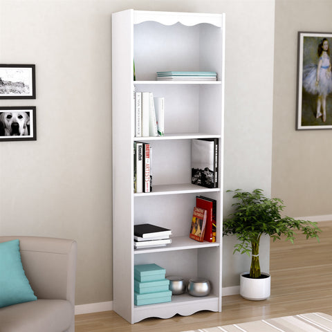 White 72-inch High Bookcase with Soft Arches and 5 Shelves-Living Room > Bookcases-Loluxe