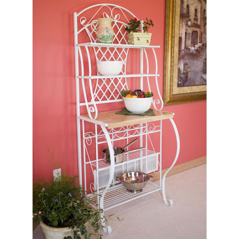 White Metal Bakers Rack with 5-Bottle Wine Rack and Wooden Work Shelf-Kitchen > Bakers Racks-Loluxe