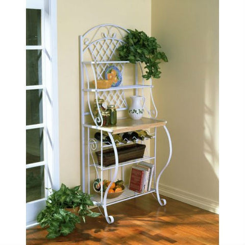 White Metal Bakers Rack with 5 Shelves for Kitchen or Pantry-Kitchen > Bakers Racks-Loluxe