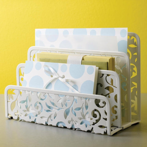 White Metal Letter Holder with Floral Pattern-Office > Letter Holders-Loluxe