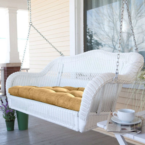 white resin wicker porch swing with comfort spring and hanging hooks and sand - Wicker Porch Swing