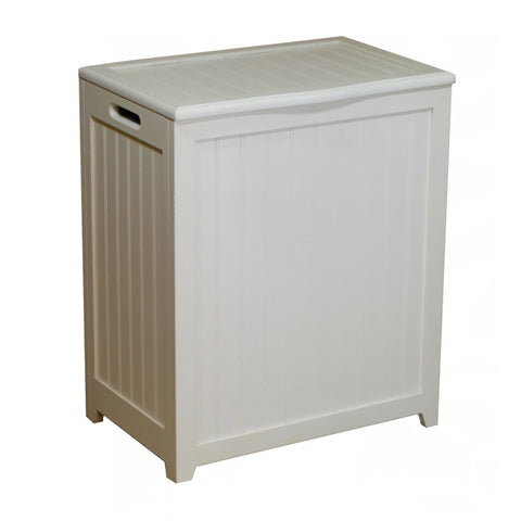 White Solid Wood Rectangular Laundry Hamper-Bathroom > Laundry Hampers-Loluxe