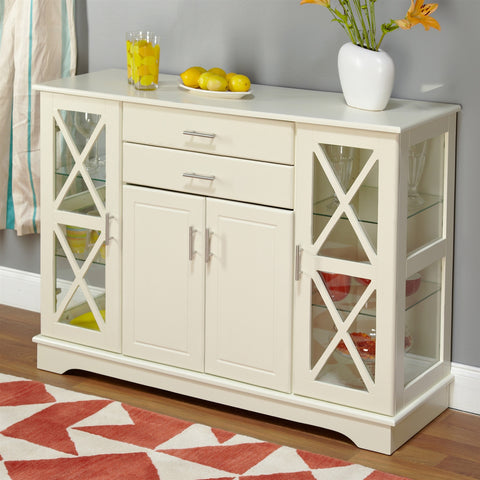 White Wood Buffet Sideboard Cabinet with Glass Display Doors-Dining > Sideboards & Buffets-Loluxe