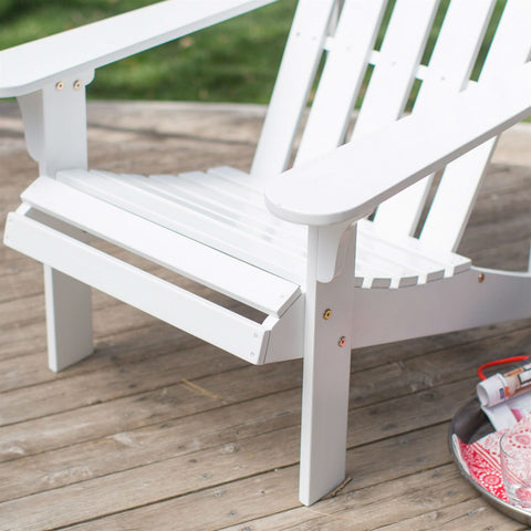 White Wood Classic Adirondack Chair with Comfort Back Design-Outdoor > Outdoor Furniture > Adirondack Chairs-Loluxe
