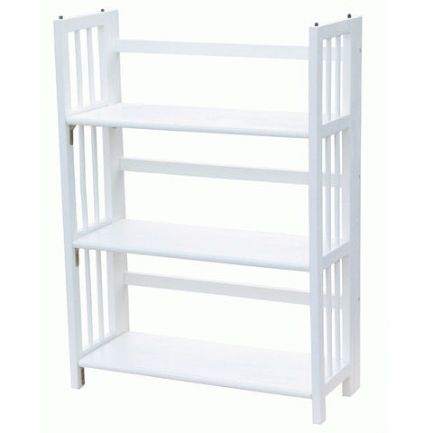 White Wood Folding Bookcase Storage Unit Shelving with 3 Shelves-Living Room > Bookcases-Loluxe