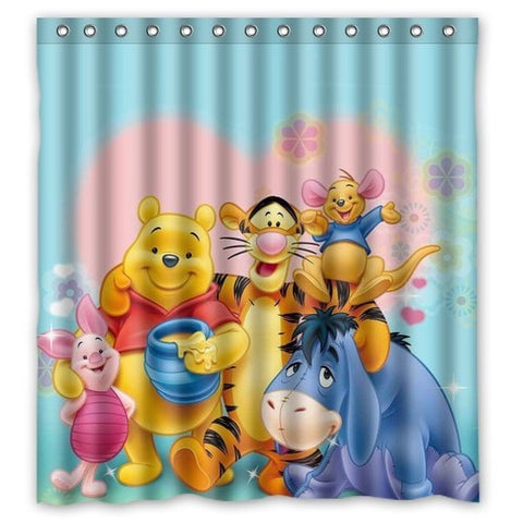 Winnie the Pooh & Friends Waterproof Shower Curtain w/Hooks 3 Sizes-Loluxe