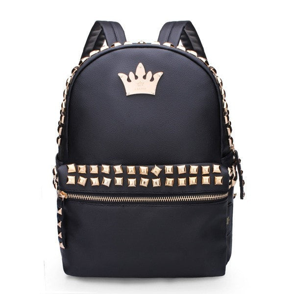 Women Backpack Rivet Crown Student Backpack PU Leather Bags-backpack bookbag-Loluxe