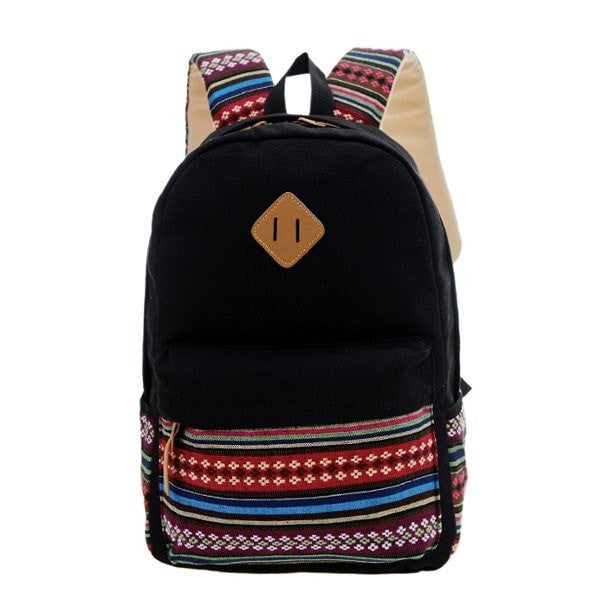 Women Canvas Pig Nose Folk Travel Backpack Students Backpack Book Bags-backpack bookbag-Loluxe