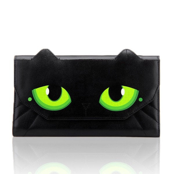 Women Cat Eyes Wallet Female Long Design Women Girl PU Leather Wallets-Handbags-Loluxe