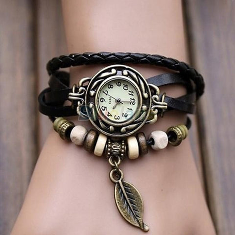 Women Genuine Leather Vintage Watch, Leaf Pendant bracelet-Loluxe