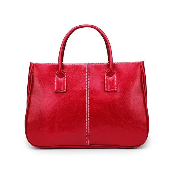 Women Leisure PU Leather Big Tote Shoulder Bag-Handbags-Loluxe