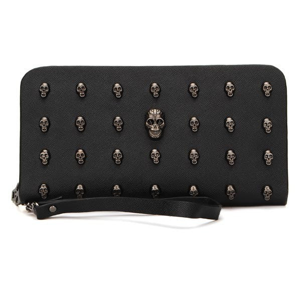 Women Long Wallet Ladies Skull Heads Rivet Clutches Bags Card Holder-coin purse wallet clutch-Loluxe
