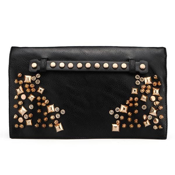 Women Punk Style Rivets Black Clutch Bag-coin purse wallet clutch-Loluxe