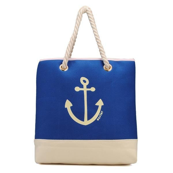 Women Sea Anchor Print Blue Handbags-Handbags-Loluxe