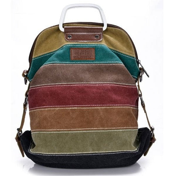 Women Stripe Canvas Handbags Crossbody Bags Casual Color Block Students Backpack-backpack bookbag-Loluxe
