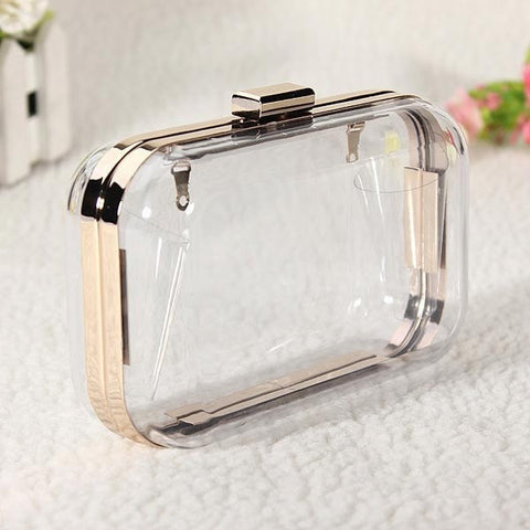 Women Transparent Clutch Evening Chain Bag-coin purse wallet clutch-Loluxe